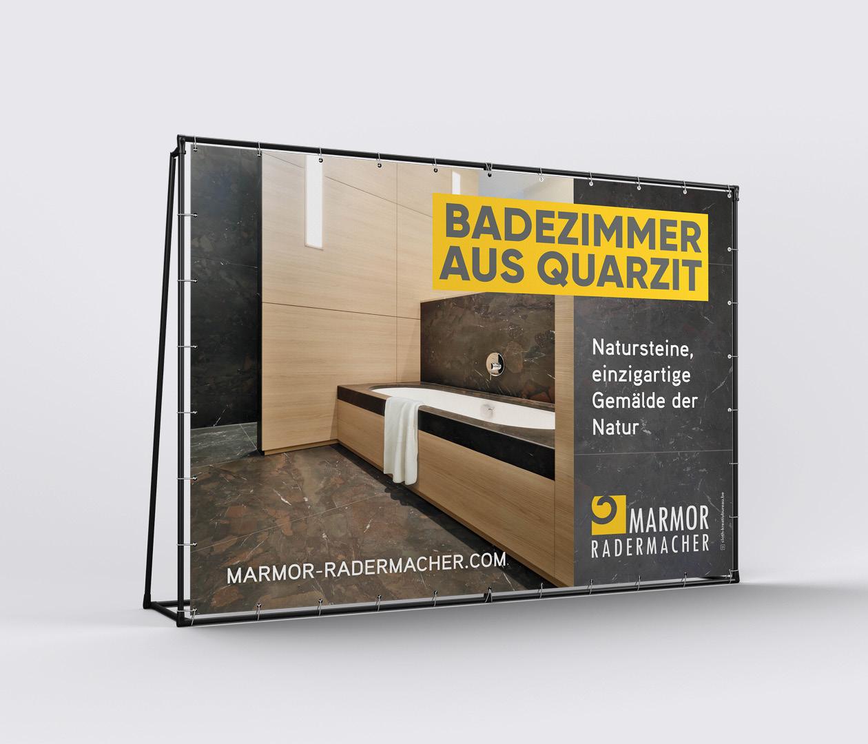 Marmor Radermacher Anhänger Banner